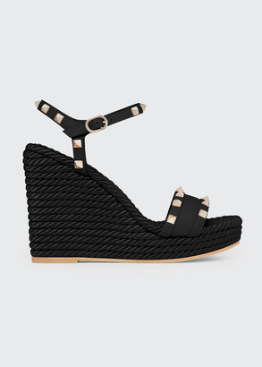 Valentino 115mm Rockstud Silk Rope Wedge Sandals