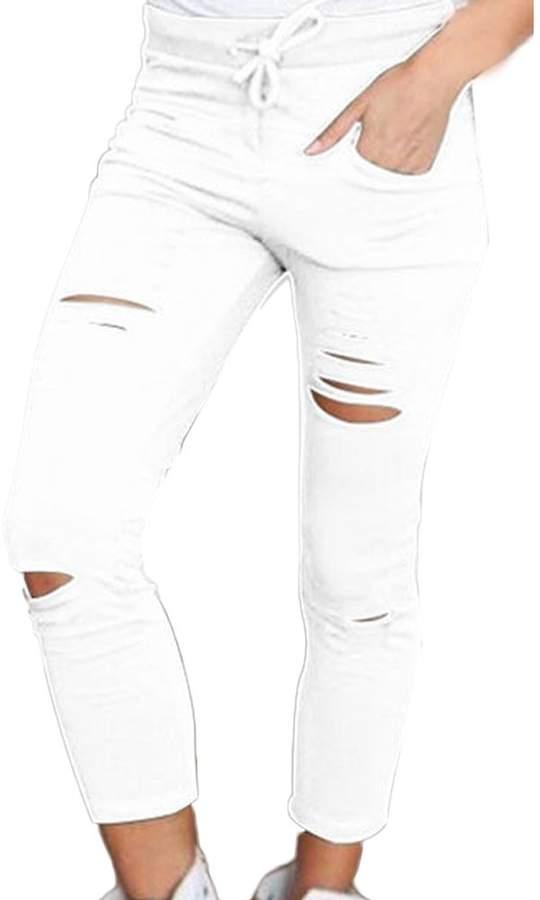 Norbi Women Destroy Denim Ripped Distressed Pants Skinny Ankle Jean