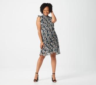 Sam Edelman Python Print High Neck Dress with Side Ruching