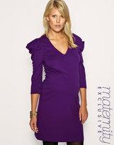 Maternity Ponte Big Shoulder Dress Exclusive to ASOS