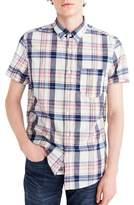 J.Crew J. CREW Indigo Plaid Short Sleeve Madras Shirt