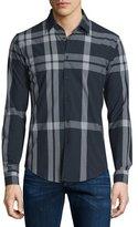 Burberry Slim-Fit Check Sport Shirt, Navy