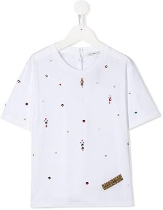 Dolce & Gabbana Kids crystal embellished T-shirt