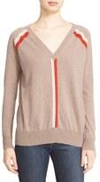 Autumn Cashmere Women's Stripe V-Neck Cashmere Sweater