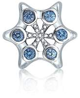 Bling Jewelry Silver Simulated Blue Topaz Cz Snowflake Bead Charms.