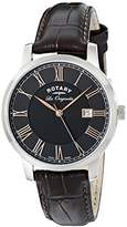 Rotary Men's gs90075/04 Stainless Steel Watch with Black Leather Band