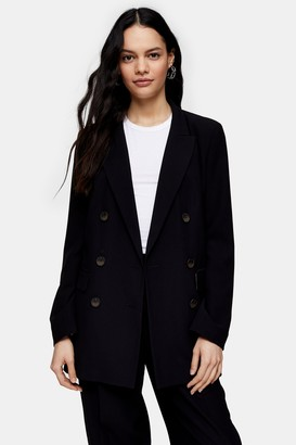 Topshop Black Twill Double Breasted Suit Blazer