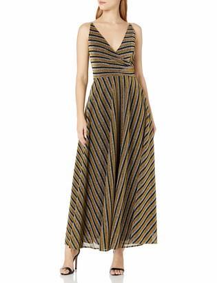 Dress the Population Women's Lena Sleeveless Surplice Wrap Long Gown