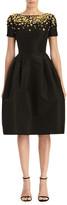 Carolina Herrera Floral Embellished Short-Sleeve A-Line Dress