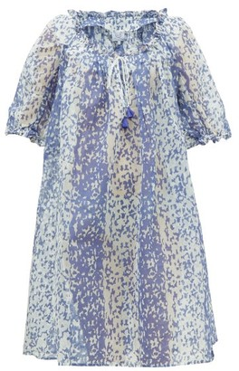 Thierry Colson Eva Drawcord-neckline Printed Cotton-blend Dress - Womens - Blue