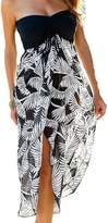 Kalin L Kalin Women Strapless Maxi Feather Printed Bohemian Split Party Long Dress