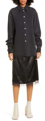 MM6 MAISON MARGIELA Slip Hem Long Sleeve Denim Shirtdress