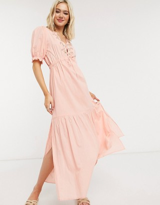Cleobella hannah midi dress with embroidered in peony