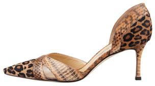 Manolo Blahnik Crux Gala Leopard-Print & Snakeskin d'Orsay Pump