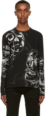 Alexander McQueen Black and Silver Skull Long Sleeve T-Shirt