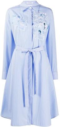 VIVETTA Embroidered Striped Shirt Dress