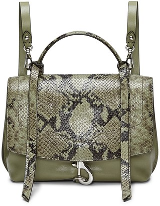 Rebecca Minkoff Stella Snake Embossed Leather Medium Convertible Backpack