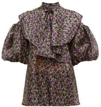 Romance Was Born Dream Factory Floral Print Organza Blouse - Womens - Black Multi