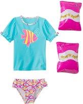 Jump N Splash Toddler Girls' Wish Fish TwoPiece Short Sleeve Rashguard Set w/ Free Floaties (2T-3T) - 8143054