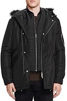 The Kooples Heavy Nylon and Leather Coat