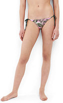 Lands' End Women's Reversible String Bikini Bottoms-Woodblock Leaves/Mulberry Wine