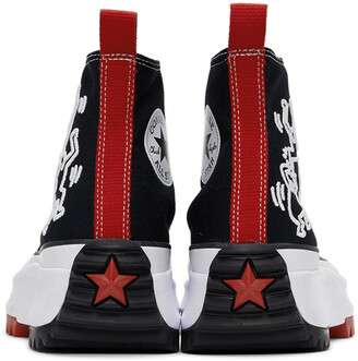 Converse Black & Red Keith Haring Edition Run Star Hike High-Top Sneakers