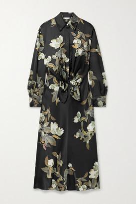Vince Lisianthus Tie-front Floral-print Satin Midi Shirt Dress - Black