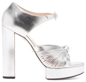 Gucci Crawford Knotted Platform Leather Sandals - Womens - Silver