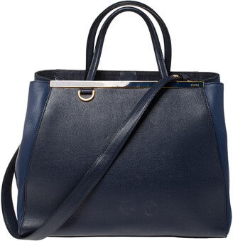 Fendi Blue Two Tone Leather Medium 2Jours Tote