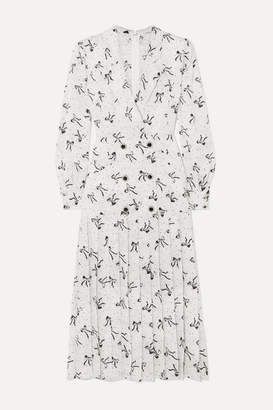 Alessandra Rich Button-embellished Silk-jacquard Midi Dress - White