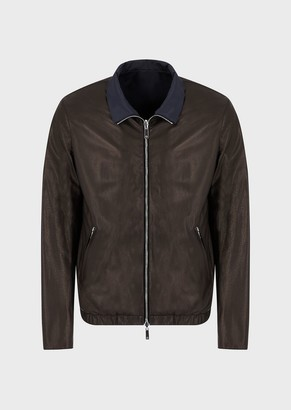 Giorgio Armani Reversible Nappa Leather Jacket With One Side In Nylon