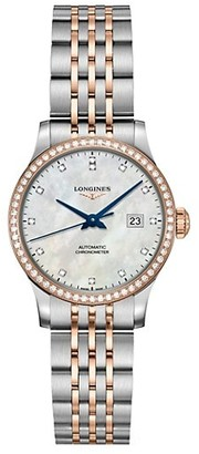 Longines Record 30MM Mother-Of-Pearl, Diamond, Stainless Steel & 18K Pink Gold Automatic Watch