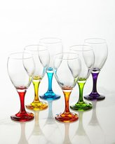 Godinger Six Rainbow Crystal Wine Glasses