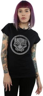Absolute Cult Marvel Women's Black Panther Distressed Icon T-Shirt Black Small