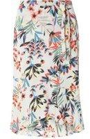 Dorothy Perkins Womens Tropical Ruffle Wrap Skirt- Blue