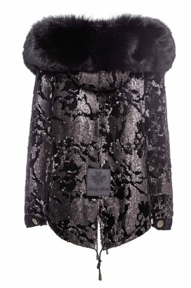 Mr & Mrs Italy Total Black Velvet Jazzy Mini Parka With Paillettes And Fur
