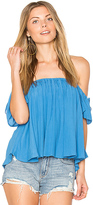 Blq Basiq Off Shoulder Baby Doll Top in Blue. - size 0 (XS/S) (also in 1(M/L))
