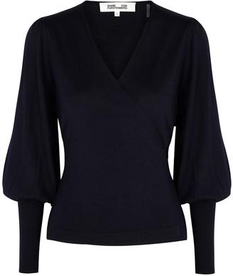 Diane von Furstenberg Adrielle navy merino wool wrap cardigan
