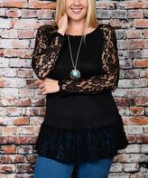 Celeste Black Lace-Accent Tunic - Plus