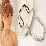 New Lady Hair Accessory Silver Metal Flower Rhinestone Leaf Headband Hair Band (Silver)