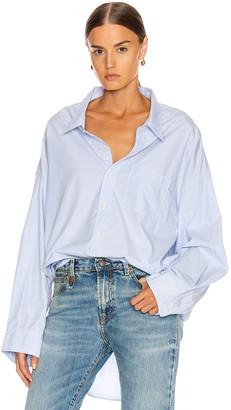 R 13 Drop Neck Oxford Shirt in Blue & White Pinstripe | FWRD