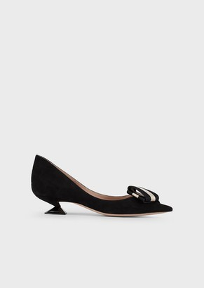 Giorgio Armani Suede Court Shoes With Ribbon Bow And Spool Heel