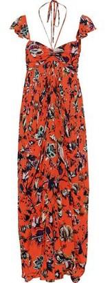 Diane von Furstenberg Celestia Ruched Printed Mesh Halterneck Maxi Dress