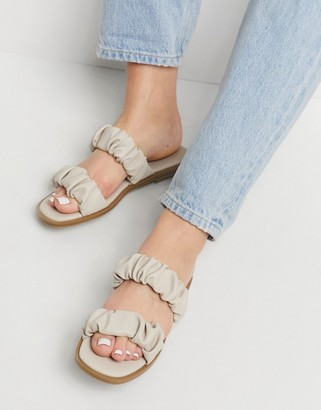 ASOS DESIGN Fanned ruffle flat sandals in taupe