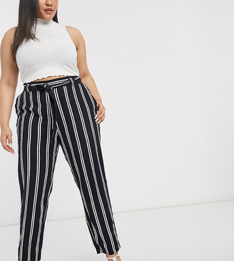 Simply Be tapered leg paperbag trousers in navy stripe