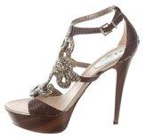 Rene Caovilla Snakeskin-Trimmed Platform Sandals