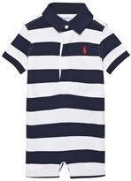 Ralph Lauren Navy and White Stripe Rugby Short Romper