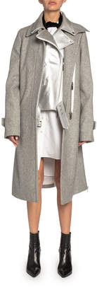Sacai Metallic Leather Moto Jacket Lined Wool Car Coat