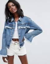 Missguided Frill Detail Denim Jacket