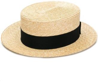 Prada Woven Straw Boater Hat
